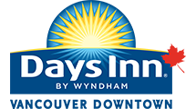 Small corporate logo of Days Inn Vancouver Downtown in blue and yellow with white lettering, a sunrise icon and a red maple leaf.
